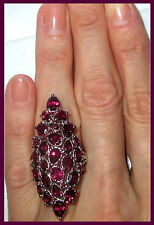 HUGE!SUPER LONG Orissa Rhodolite Garnet Ring 10.65cts Sterling Silver 925 sz 6 7