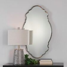 "Venetian Shaped Wall Mirror Silver 36"" Oval Hammered Metal Home Decor Bathroom"