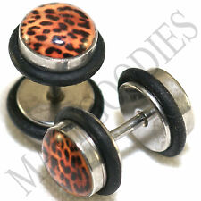 0152 Fake Cheater Faux Illusion Ear Plugs 16G Look 0G 8mm Leopard Cheetah Print