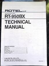 ROTEL TECHNICAL (service) MANUAL for RT-950BX  AM/FM Stereo Tuner