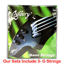 NEW Full Set ASHBORY BASS STRINGS w/ 3-G's! 1 E-A-D & 3 G's Ashborystrings.com