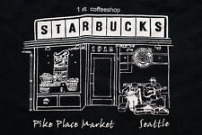 Starbucks 1st Coffeeshop T-Shirt, Pike Place Market Seattle Graphic Tee, Coffee
