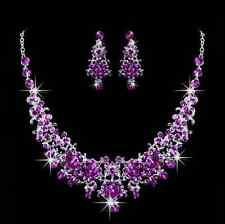 Purple Rhinestone Crystal Earrings Necklace Set Bridal Accessories Jewerly Sets