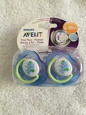 Philips Avent free flow orthodontic pacifier 2 pack 6-18 months elephant blue