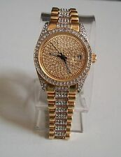 Mens Designer Style hip hop CZ Bling clubbing Gold/Silver finish with date watch