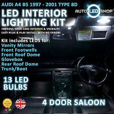 Audi A4 B5 Saloon 94-01 Led Interior Upgrade Kit Completo Conjunto De Bulbo Xenon Blanco