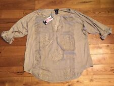 NWT Women's Taupe RXB Chiffon Embroidered Stretchy Roll Tab Sleeves Blouse 2XL