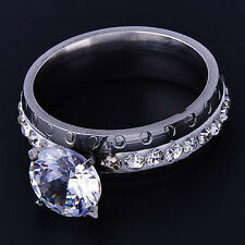 Fashion silver plated Clear CZ Womens Wedding engagement love Band Ring Size 8