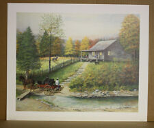 Country Courtesy-Fred Thrasher Red Cross Doctor Nurse horse buggy cabin KyArtist