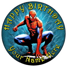 "SPIDERMAN BIRTHDAY PARTY - 7.5"" PERSONALISED ROUND EDIBLE ICING CAKE TOPPER"