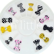 3D Resin Striped Bow Tie Ribbon Cute Manicure Charms Nail Art Decoration #N508H