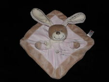 NICOTOY BUNNY RABBIT BABY COMFORTER SOFT TOY PINK BROWN BLANKIE DOUDOU LAPIN