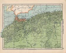 1925 Mapa ~ África ~ Argelia y Marruecos ~ estrecho de Gibraltar
