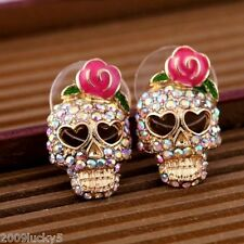 Vintage Gold Crystal Skull Studs Rose Flower Earrings Biker Punk Gothic Rock