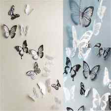 18pcs Fashion 3D Black/White Butterfly Decor Wall Stickers Decor Wall Decals TR2
