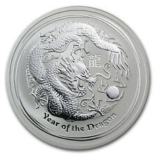 2012 2 oz Silver Australian Perth Mint Lunar Year of the Dragon Coin -SKU #62666