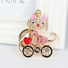 Fox Lady Ride Bike Heart Lovely Charm Pendant Crystal Purse Bag Key Chain Gift