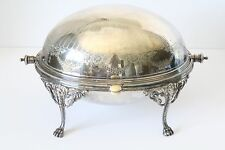 Rare Antique Ornate 3pc Silveplate Footed Chafing Warming Dish Bowl ELKINGTON Co