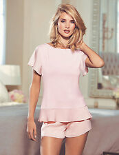 NEW M&S Rosie for Autograph Pink Satin Peplum Top & Shorts UK 10 EUR 38