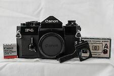 Canon F-1 SLR 35mm FILM BODY + Flash Coupler + Focusing Screen + Lens R Doptric