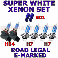BMW 3 E46 CONV 2000-2003 SET  H7  H7  HB4  501  SUPER WHITE XENON LIGHT BULBS