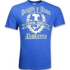New Forza Italia Sangue Cuore Azzurro Adult Medium Soccer Calcio Italy T-shirt
