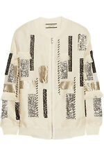 2015 By Malene Birger Ailatia embellished silk-organza bomber jacket Cream 36