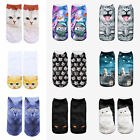 Fashion Animal Printed Unisex Women 3D Casual Socks Cute Cat Low Cut Ankle Socks