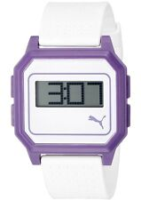 New $55 PUMA Unisex Mens Women's Flat Screen Digital Watch White Light Purple