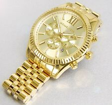 Michael Kors MK8281 Men's Watch Stainless Steel Lexington Gold Chronograph U.S.A