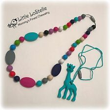 Teething Nursing Necklace Gift Set Silicone Beads & Giraffe Baby Teether Jewelry