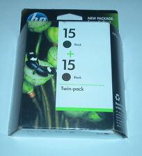 2 GENUINE HP 15 BLACK INK CARTRIDGE NEW NIB NIP NOV 2011 DOUBLE PACK