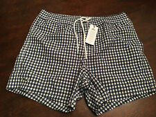 NWT Mens LACOSTE Blue & White Plaid Bathing Suit Swim Trunks Shorts Size Small