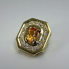 Natural Canary Yellow Sapphire Diamond Pendant 14K Gold 1980s Statement Heirloom