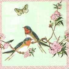 4 Single Paper Napkins for Decoupage Swallows Flowers Birds Butterfly Vintage