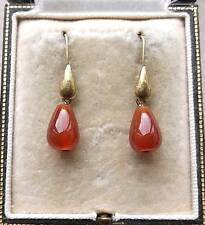 Feminine Vintage Inspired Genuine Carnelian Tear Drop Earrings