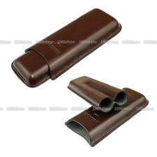 Hot COHIBA Cigar Case Humidor 2 Tube Cigarette Case Brown Leather Travel Holder