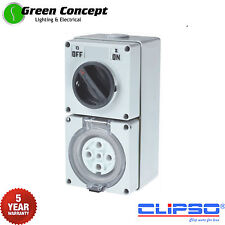 5 Pin 32 Amp IP66 Industrial Switched Outlet Socket Power Point 32A 3 Phase