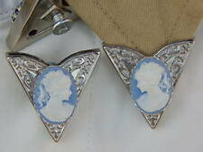 NEW HANDCRAFTED COLLAR TIPS BLUE/WHITE CAMEO LADIES  SILVER METAL,GOTH,WESTERN