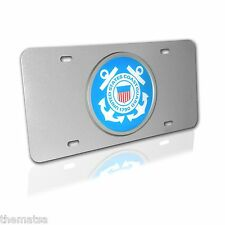 COAST GUARD SEAL EMBLEM ON BRUSHED CHROME LICENSE PLATE MADE IN USA