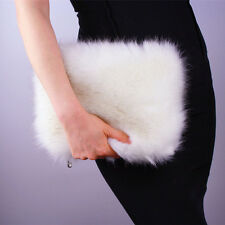 silver Long fox Fur purse Fluffy Fuzzy Foldover Clutch Bag Purse Handbag