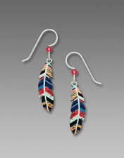 Sienna Sky Multi Colored FEATHER EARRINGS STERLING Silver Fall - Gift Boxed
