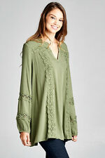 AVOCADO Green Peasant DRAPING TUNIC Flare Long Sleeve Boho Hippie Blouse Top S