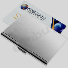 NEW -  SLIM LIGHT METAL SILVER BUSINESS CARD HOLDER (UK)