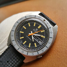 Vintage Elgin Diver Day-Date Watch w/Warm Patina,All SS Case,Genuine Tropic Band