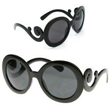 Designer Inspired Oversized High Fashion Sunglasses w/ Baroque Swirl Arms-black