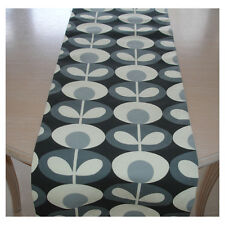 "NEW 4ft Table Runner 48"" Orla Kiely Oval Flower Cool Grey and Cream 120cm Retro"