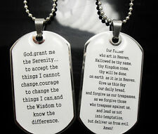 wholesale 30 serenity lord's prayer necklace dog tag necklace pendants chains