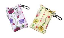 Floral/Flower Design Eco Fold Up Shopping Bag For Life With Clip - ONE AT RANDOM