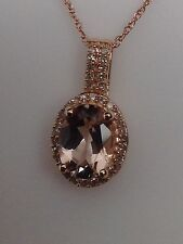New 10K Rose Gold Oval Shape Morganite and 0.15ct twt Natural Diamond Pendant